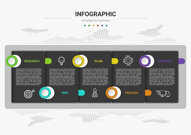 Stappen tijdlijn bedrijfsproces infographics element sjabloonontwerp