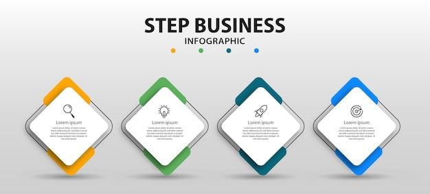 Stappen tijdlijn infographics ontwerp