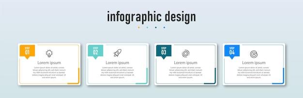 Stappen tijdlijn infographics ontwerpsjabloon