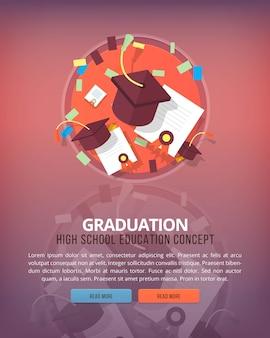 Stappen van educatief proces. diploma uitreiking. onderwijs en wetenschap verticale lay-outconcepten. moderne stijl.