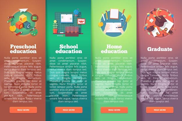 Stappen van educatief proces. soorten kennisbronnen. peuter. basis- en basisvak. diploma uitreiking. onderwijs en wetenschap verticale lay-outconcepten. moderne stijl.