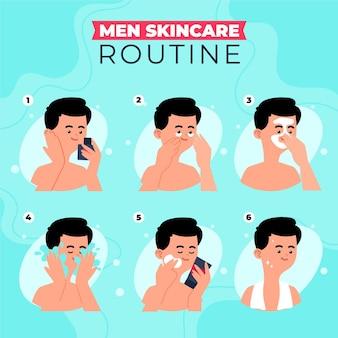 Stappen van mannen huidverzorgingsroutine