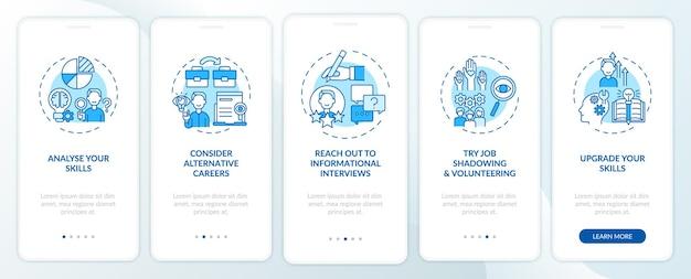 Stappen voor carrièreverandering bij het onboarding van het paginascherm van de mobiele app met concepten. vind nieuwe jobtips walkthrough 5 stappen grafische instructies.