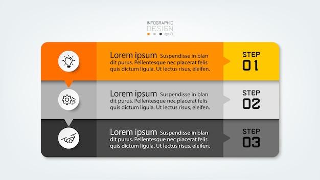 Stappen voor communicatie via vierkante dozen die worden gebruikt voor presentatieadvertenties of uitgezonden infographic