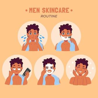 Stappen voor de huidverzorgingsroutine van de man