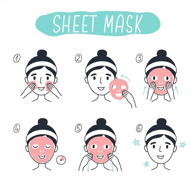 Stappen voor het aanbrengen van een cosmetisch gezichtsmasker. lijnelementen