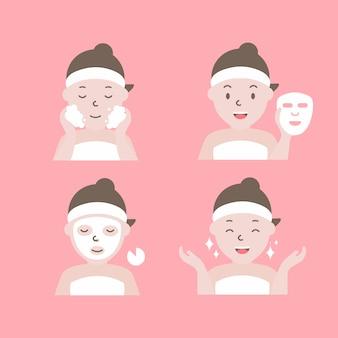 Stappen voor het aanbrengen van een gezichtsmasker. vrouw met stap van gezichtsmaskering.