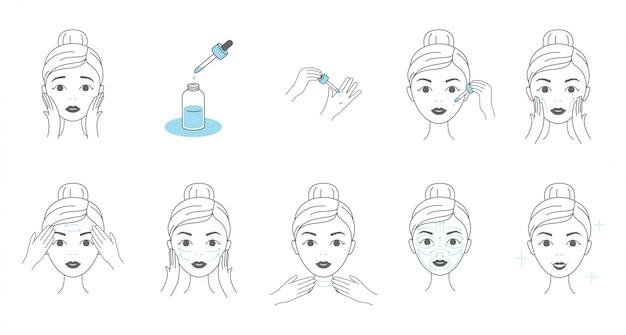 Stappen voor het aanbrengen van gezichtsserum. jonge vrouw die gezichtsmassage maakt door lijnen.