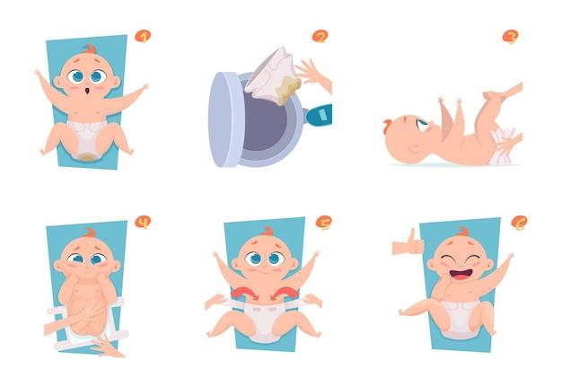 Stappen voor het verschonen van luiers. medische gezondheidszorg maakt foto's bekend aan ouders babyverzorging