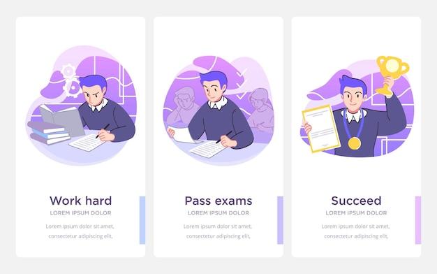 Stappen voor succes. studie en levensprestaties en succesconcept. vector illustratie