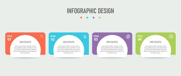 Stappen zakelijke infographic sjabloon met 4 opties
