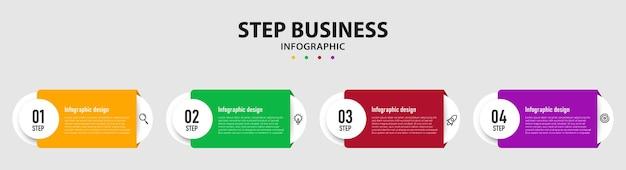 Stappen zakelijke infographics sjabloon premium vector