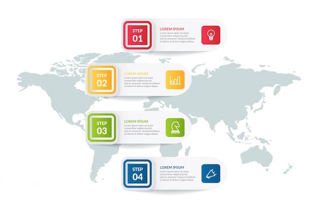 Stapproces infographic met wereldkaart