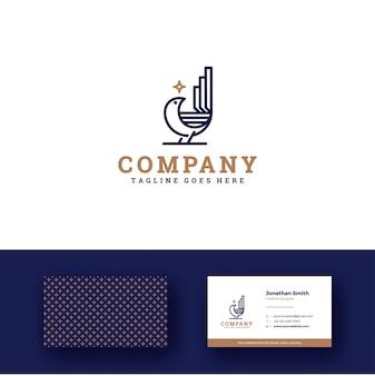 Star bird-logo met eenvoudig elegant visitekaartje