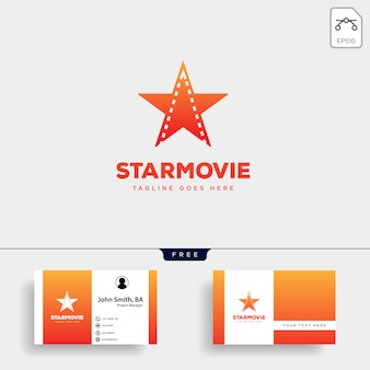 Star film bioscoop eenvoudige logo sjabloon vector illustratie pictogram element geïsoleerd