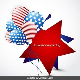 Star kenteken van de onafhankelijkheid dag met ballonnen