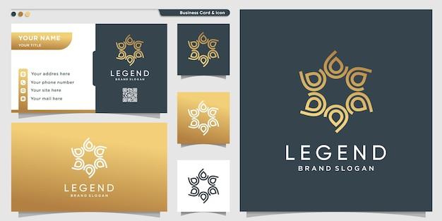 Star-logo met gouden uniek concept en visitekaartjeontwerp