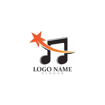 Star note muziek logo ontwerpsjabloon