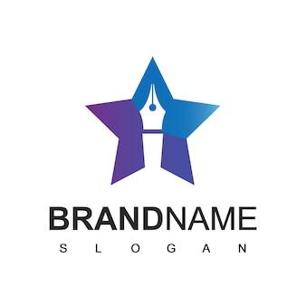 Star pen logo, business, onderwijs en advocatenkantoor bedrijfssymbool
