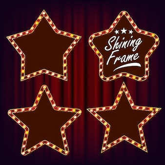 Star retro frame set vector. realistische shine lamp star frame. 3d elektrisch gloeiend reclamebord. vintage verlicht neonlicht. carnaval, circus, casinostijl. illustratie