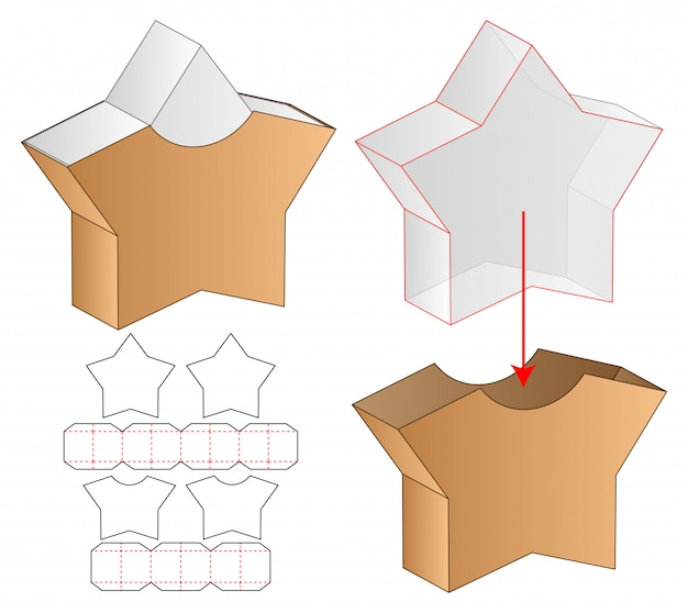 Star shape box verpakking gestanst sjabloon