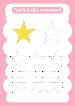 Star trace-lijnen schrijven en tekenen oefenwerkblad voor kinderen