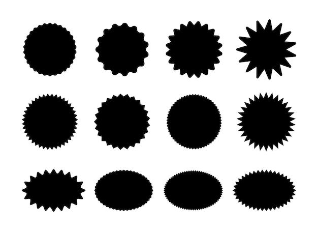 Starburst-stickers. zwarte sunburst badges, geïsoleerde sterprijs etiketten vector set