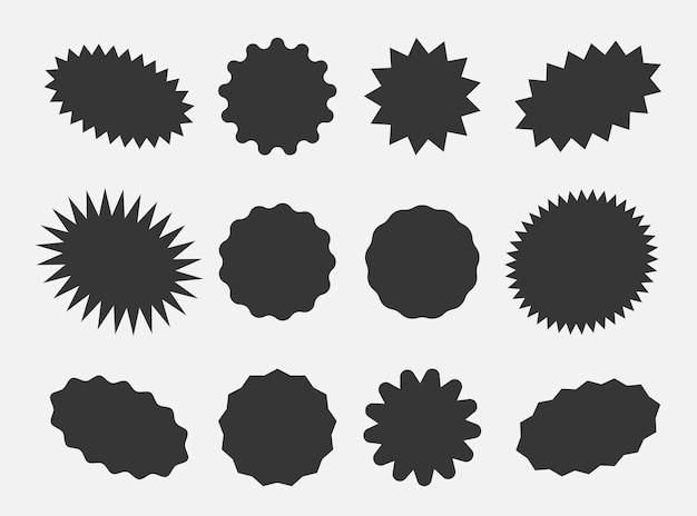 Starburst tekstballonnen, barstende sticker promo badges, sunburst promotie tag. explosie ster knop vectorillustratie