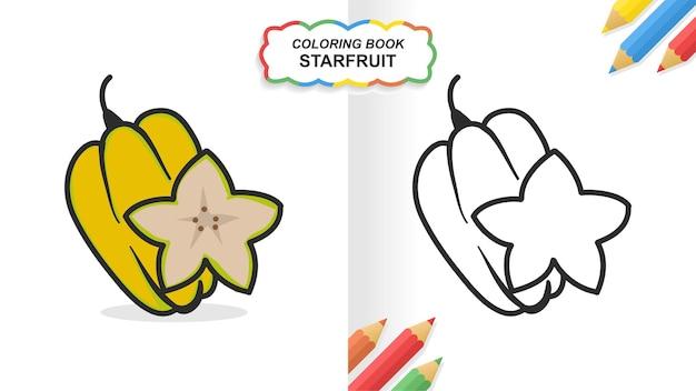 Starfruit hand getekend kleurboek om te leren. egale kleur klaar om af te drukken
