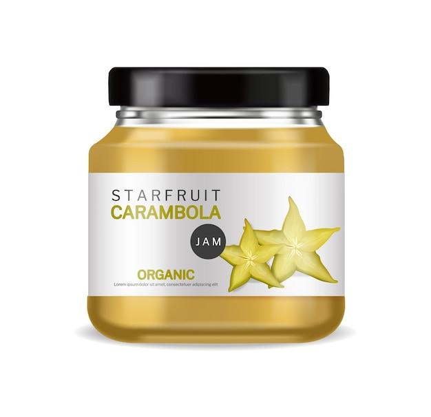 Starfruit jam vector realistisch biologisch glazen fles labelontwerp
