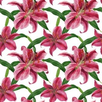 Stargazer lily aquarel naadloze patroon