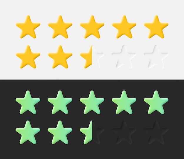 Stars rating icons set 3d-neumorfe lichte en donkere stijl ui ux materiaalontwerpelementen