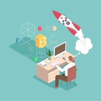 Start 3d platte isometrische bedrijfsconcept illustratie. man creëert een nieuw project op zijn werkplek met een computer, een raket en een cryptocurrency.