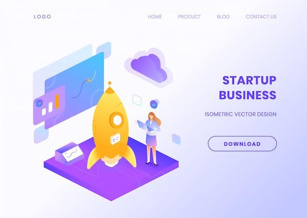 Start bedrijfswebsitemalplaatje met isometrische illustratie