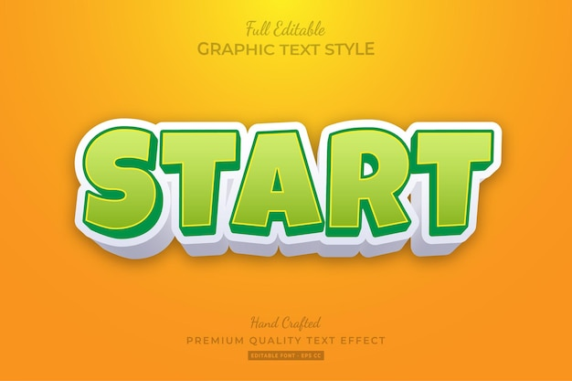 Start cartoon bewerkbare teksteffect lettertypestijl