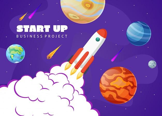 Start conceptruimte met raket en planeten. ruimte verkennen