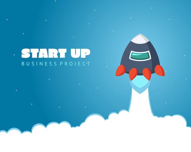 Start conceptruimte met raket en planeten. web ontwerp