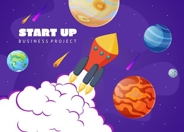 Start conceptruimte met raket en planeten.