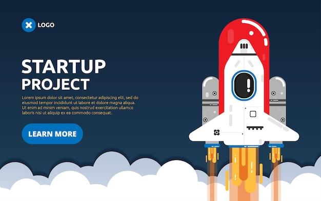 Start de bestemmingspagina op met een platte vliegende raketillustratie