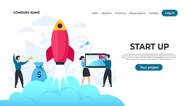 Start de landingspagina op. trendy ondernemerskarakters die project, succesvol strategieconcept starten. vectorillustraties ontwerpen sjabloon web bedrijven productlancering
