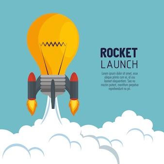 Start de raket van de lanceringsbol