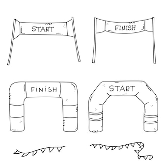 Start en finish banners of vlaggen voor buitensportevenementen. competitie race vectorillustratie