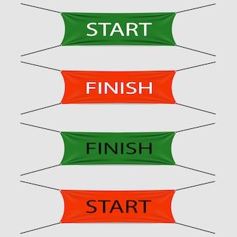 Start en finish textielstroken of banieren, rode of groene kleuren met zwarte of witte teksten,
