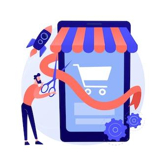 Start en start het abstracte concept van uw online winkel