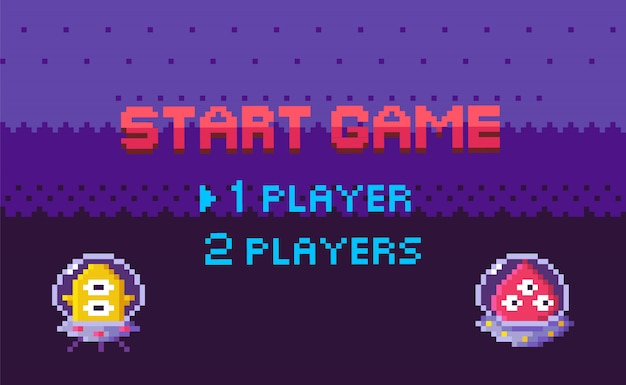 Start game aliens attack, pixel characters galaxy