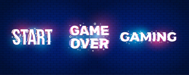Start, game over met glitch-effect.
