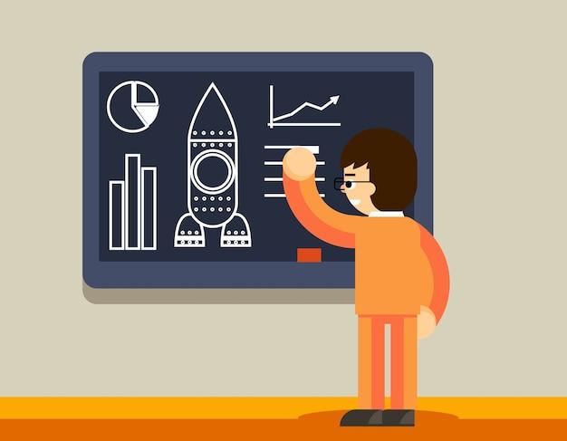 Start plan op schoolbord. man maakt businessplan, innovatieontwikkeling