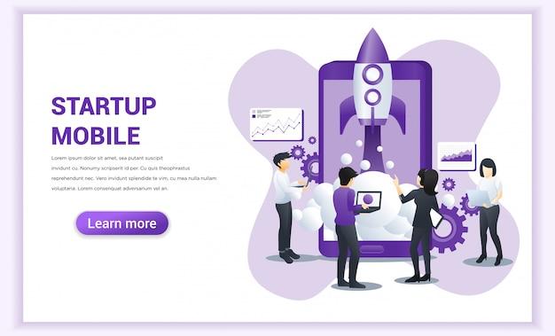 Start project-concept voor mobiele ontwikkeling met mensen die werken aan raketlancering