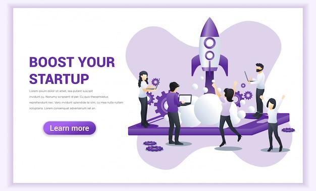 Start project-concept voor mobiele ontwikkeling. vergroot uw bedrijf.