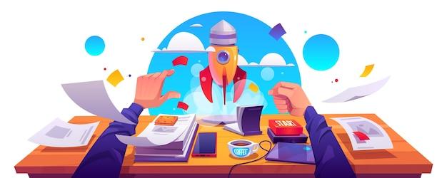 Start project lancering, realisatie van idee voor bedrijfsinnovatie, ontwikkeling. raket opstijgen met rookwolk van werkplek met documenten, mannenhand drukknop start, cartoon vectorillustratie.